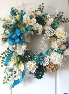 Custom Tiffany blue year round wreath!