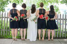Cute bride + bridesmaid wedding day photo idea {Maine Tinker}