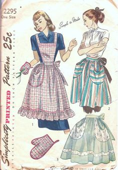 Vintage Sewing Pattern Womens Full Apron or Womens Half Apron with Pockets Including Oven Mitt Pinafore Apron Simplicity 2295 Half Apron Patterns, Vintage Apron Pattern, Aprons Vintage, Simplicity Sewing Patterns, Blouse Vintage, Vintage Sewing Patterns, Vintage Hats, Bib Apron, Apron Dress
