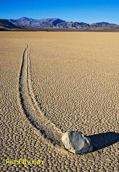 Death Valley National Park. Racetrack Playa.  Even NASA cannot explain it. It's best to gaze in wonder at the sliding rocks on this dry lake bed in Death Valley National Park. Racetrack Playa is almost completely flat, 2.5 miles from north to south and 1.25 miles from east to west, and covered with cracked mud. The rocks, some weighing hundreds of pounds, slide across the sediment, leaving furrows in their wakes, but no one has actually witnessed it.