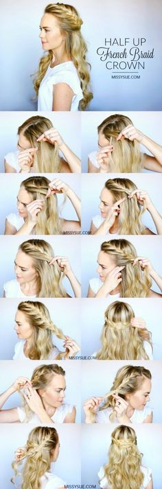 Half Up French Braid Crown time to change up your look and learn a new hairstyle that is perfect for any season! Today I am partnering with Sally Beauty to share with you how you can easily create these everyday curls along with this pretty half up french Trendy Hairstyles, Braided Hairstyles, Wedding Hairstyles, Greek Hairstyles, Long Haircuts, Fashion Hairstyles, Graduation Hairstyles, Gorgeous Hairstyles, Girl Hairstyles