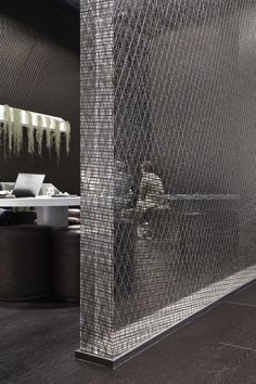 Or creating a transparent partition like this but using the graphic pattern instead of this lined one.