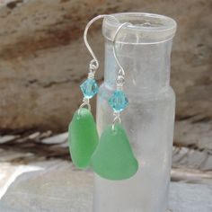 Mariners Dream Earrings With Kelly Green Sea Glass From Puerto Rico. | Out Of The Blue Sea Glass Jewelry