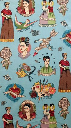 """Todo Para Ti"" in the tea colourway. An ode to Frida Kahlo as cameos of the iconic Mexican artist are printed alongside paint palettes, mexican hearts, birds and florals, on a Turquoise background. Mexican Artists, Mexican Folk Art, Frida Kahlo Tattoos, Fridah Kahlo, Frida Art, Dance Shirts, Novelty Shirts, Trendy Wallpaper, Diego Rivera"