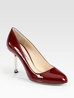 Prada  Patent Leather Chrome Heel Pump  Like the Red. Available also in Black.