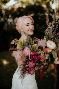 Laura and James' whimsical glam wedding was full of color, overgrown blooms, and their two dogs. Chasewild beautifully captured their wedding day. Bridal Flowers, Flower Bouquet Wedding, Floral Wedding, Pink Flowers, Bridal Bouquets, Whimsical Wedding, Flower Bouquets, Wedding Pics, Wedding Day