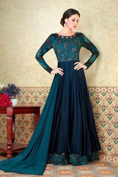 Navy Blue And Teal Blue Cotton And Satin Anarkali Suit With Dupatta - DMV15162