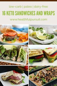 16 Keto Sandwiches and Wraps. Stack it! Wrap it! Roll it! And of course eat it! Check out these keto-approved sandwiches and wraps that will leave you feeling happy and healthy on your low-carb paleo diet. Low Carb Paleo Diet, Paleo Dairy, Paleo Vegan, Ketogenic Recipes, Paleo Recipes, Low Carb Recipes, Lunch Recipes, Dinner Recipes, Wrap Recipes