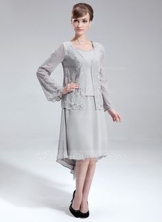 [DKK 912] A-linje V-hals Asymmetrisk Chiffon Kjole til Brudens Mor med Perlebroderi (008006093)