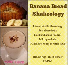 Banana Bread Superfood Smoothie - Tip: To make it thicker you can add ice. To make it thinner you can add filtered water instead of t - Shakeology Flavors, Shakeology Shakes, Beachbody Shakeology, Vanilla Shakeology, Greenberry Shakeology, 310 Shake Recipes, Protein Shake Recipes, Smoothie Recipes, Healthy Recipes