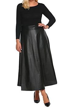 5843fe7c4a0 Involand Womens Plus Size High Waist Flared A Line Swing Maxi Leather Skirt  For Party Casual