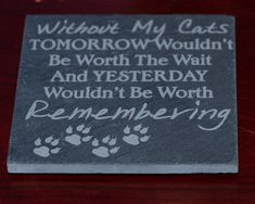 """Slate Tile Coaster Set with """"Crazy Cat Lady"""", """"Crazy Cat Guy"""", """"Cat Lessons for People"""", """"Without My Cats"""". Photo Engraving, Laser Engraving, Crazy Cat Lady, Crazy Cats, Dog Nose Print, Slate Coasters, Without Me, Heart Ornament, Photo On Wood"""