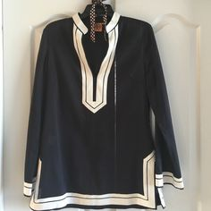 Tory Burch Tunic Beautiful Tory Burch Navy Tunic. Size 10.  Excellent condition.  No trades. Tory Burch Tops Tunics