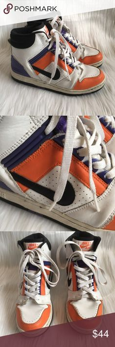 "Vintage Nike Air Force 2 Orange High Top Sneakers vintage nike air orange and purple high top sneakers. super unique and cool color way! black and white hues are also thrown into the mix. leather outer. very comfortable. says ""nike air air force 2"" on the tongue. rare.  size: kids 5.5 = women's 7.5 flaws: light scuffs and normal vintage wear but i wouldn't say any of it is noticeable when worn discounts: 10% off bundles of 2 items and 15% off bundles of 3+ items Nike Shoes Athletic Shoes"