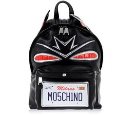 Moschino Leather Cadillac Backpack (31 590 UAH) ❤ liked on Polyvore featuring bags, backpacks, black, shoulder bag, moschino bags, day pack backpack, leather knapsack and backpack bags