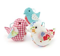 These sweet little fabric birds by designer Helen Philipps are the perfect project for children to try. Just cut out your templates and sew!: