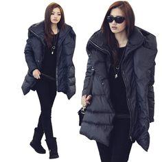 55.36  Femmes coréennes veste d hiver 2015 femmes manteau d hiver femmes  Parka lâche chaud épais manteau femme duvet de canard Parkas , Plus la  taille noir ... 71455772f629