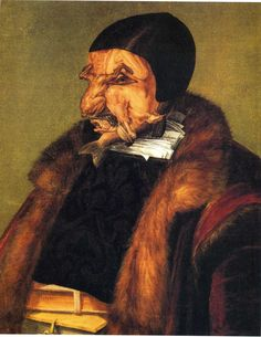 """[Guiseppe Arcimboldo, """"L'Avvocato,"""" aka """"The Lawyer"""" or """"The Jurist""""] - 'The Lawyer (a lawyer or high official with his head made of pieces of small game and his body of books) was also like a horror painting.' (Roberto Bolano, """"2666"""")"""