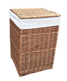Square Lining Wicker Laundry Bin August Grove Colour: Light Steamed, Size: Large H x W x D) Laundry Cabinets, Laundry Bin, Laundry Sorter, Laundry Hamper, Rattan, Wicker, Water Hyacinth, Hazelwood Home, Light In The Dark