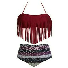 Two piece fringe bikini Super cute fringe top, high wasted bottoms bathing suit. Never worn, ordered it online and I didn't like the way it fit. Tag says it's an XL but I would say it fits more like a L. Swim Bikinis
