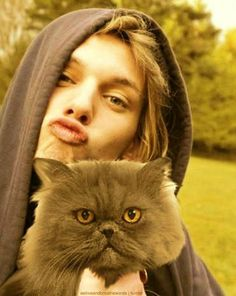 """Jace and Church. Even tho he is doing the """"duckface"""" I can't help but smile"""