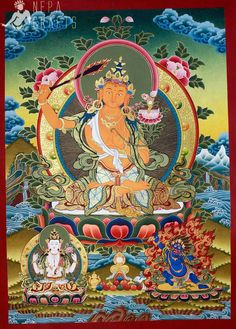 02-Manjushree Deep Color Thangka Painting-B.jpg (650×907)