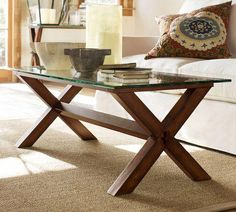 Tables - Ava Wood Coffee Table - Espresso stain | Pottery Barn - x-based coffe table, glass topped coffee table, trestle style coffee table,...