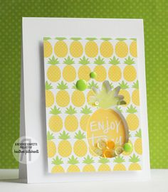 Card by Heather Puvirenti. Reverse Confetti stamp set and coordinating Confetti Cuts: Pineapples Aplenty. Quick Card Panels: Pina Colada. Birthday card. Friendship card. Encouragement card.