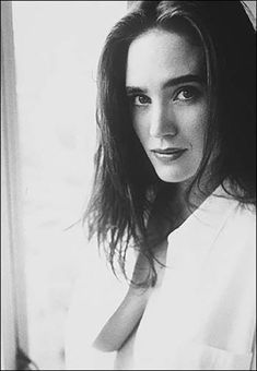 Jennifer Connelly black and white portrait in a transparent open white blouse and no bra, a brunette modern classic beauty, star of Labyrinth, The Rocketeer, Requiem for a Dream, and Dark City. #JenniferConnelly #brunette #brunettes #downblouse