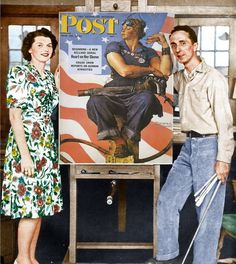 Remembering Rosie the Riveter: http://www.nrm.org/2015/04/remembering-rosie-the-riveter/  Pictured: Rosie herself and Norman Rockwell. (the artist)