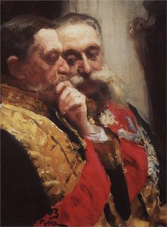 Portrait of members of State Council Ivan Logginovich Goremykin and Nikolai Nikolayevich Gerard. Study., 1903  Ilya Repin