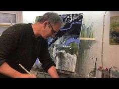 Lewis Noble studio painting May Working on a large scale canvas with acrylic and mixed media using a variety of different paints. I work rapidly but bu. Watercolor Sunflower, Abstract Canvas Art, Painting Techniques, Artist At Work, Art Tutorials, Studio, Collages, Trees, Paintings