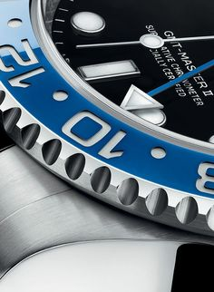 A close-up view of the Rolex GMT-Master II's rotatable 24-hour graduated bezel highlights the design, detailing and craftmanship that makes every Rolex watch so special.