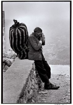 A Greek portfolio, Karpathos, Carrying firewood home. Greece Pictures, Old Pictures, Old Photos, People Photography, White Photography, Street Photography, Magnum Photos, Greek Men, Karpathos