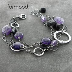 ametyst, spinel i czarny turmalin - bransoletka Biżuteria Bransolety formood