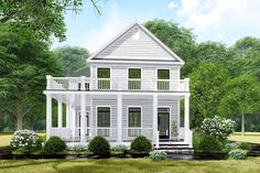 Lovely Colonial House Plan with Stacked Wrap-Around Porches - -Plan Lovely Colonial House Plan with Stacked Wrap-Around Porches - - The eye-catching, stacked porches wrap around this Colonial-style house plan, clad in horizontal siding.The main l. Colonial House Plans, Porch House Plans, Colonial Style Homes, Country Style House Plans, Cottage House Plans, Cottage Homes, House Floor Plans, French Colonial, Coastal Cottage