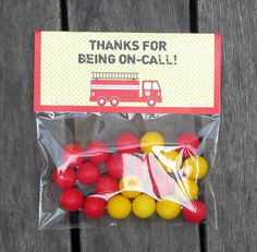Fireman Party Favor Bag Toppers