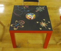 Leuk idee, tafeltje verven met krijtbordverf