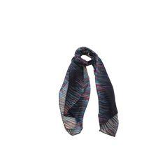 Echarpe Riscos Coloridos Azul Marinho de Algodão #echarpes #lenços #lenço #scarf #scarfs