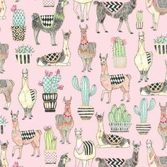 Michael Miller Lovely Llamas Allover Pink Fabric - 1 yard