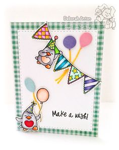 Your Next Stamp: Waddles Happy Brrr-thday stamp set and coordinating dies, Stitched Rectangle Dies, and Mini Balloon Trio Die Set Mini Balloons, Make A Wish, Anton, Making Ideas, Birthday Cards, Card Making, Stitch, Happy, Projects