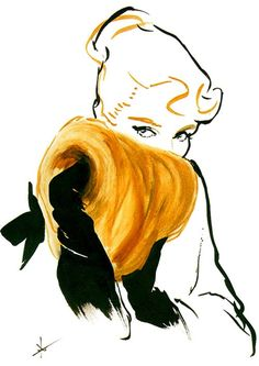 Illustration by Rene Gruau - Pinterest is just making me want to paint images of pretty people
