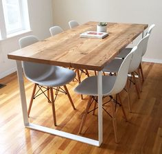 Gloss White Metal Table Legs and Table Bases Metal Leg Dining Table, Wood And Metal Table, Steel Table Legs, White Dining Table, Wooden Dining Tables, Dining Table Design, Wood Table, Dining Room Table, Table Bases
