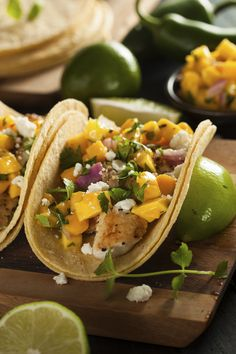 Fish Tacos With Mango Salsa #healthy #dinner #recipes http://greatist.com/eat/healthy-dinner-recipes-for-two