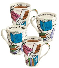 """Book Lover's Mugs --- Tall, flared, generously sized to last for several chapters. From British designer Paul Cardew, 5"""" porcelain mugs hold 15 oz. Dishwasher and microwave safe. Sold as a set of 4."""