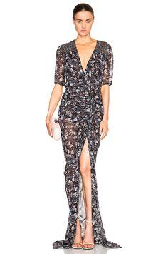 Image 1 of Veronica Beard Dominga Drawstring Maxi Dress in Black Floral