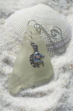 Unicorn on a Thick Frosted Sea Glass Ornament
