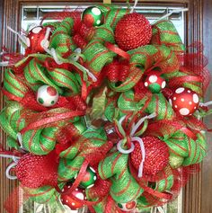 GREEN with RED STRIPES Deco Mesh Christmas Wreath by decoglitz