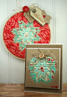 Beautiful folded fabric star in embroidery hoop and apple card by Linda McClain