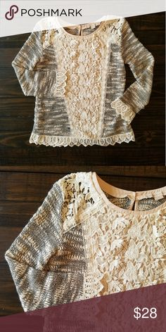 """Anthropologie champagne and strawberry sweater A beautiful sweater with nice detail lacing Colors include black, cream, and Peach. Open to offers Bust 18 """" Armpit down 16"""" Anthropologie Sweaters"""